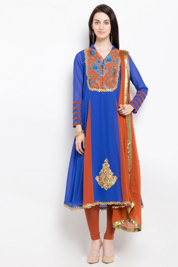 Excellent Blue Casual Wear Embroidered Work Plus Size Readymade Salwar Suit