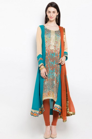 Stylish Blue Georgette Embroidered Work Plus Size Readymade Salwar Suit