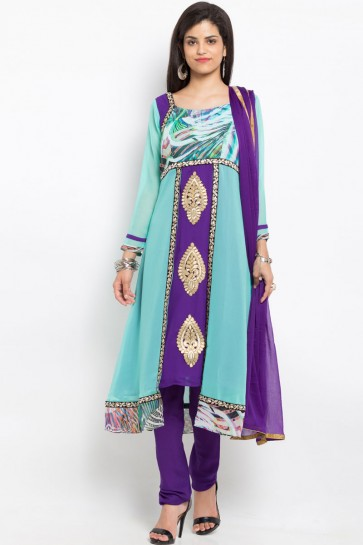 Lovely Blue Casual Wear Embroidered Work Plus Size Readymade Salwar Suit