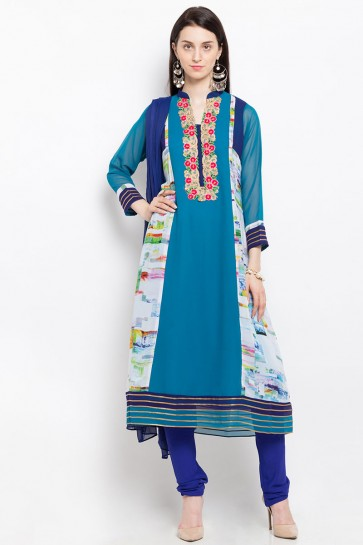 Admirable Blue Georgette Party Wear Plus Size Readymade Salwar Suit