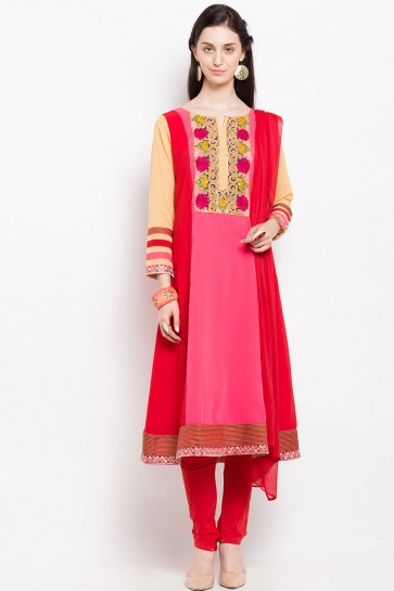 Desirable Pink Georgette Embroidered Work Plus Size Readymade Salwar Suit
