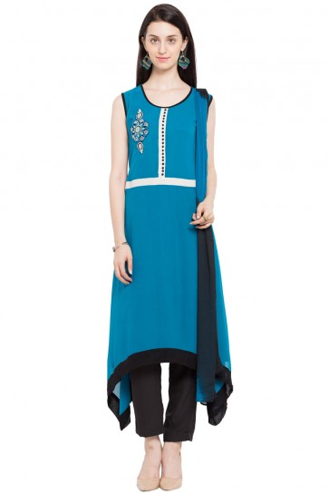 Classic Blue Georgette and Faux Crepe Churidar Bottom Plus Size Readymade Salwar Suit