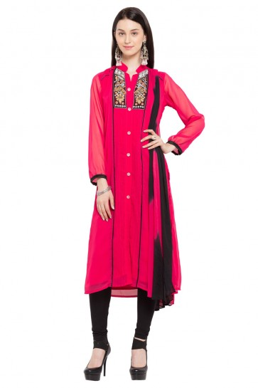 Pretty Pink Georgette Churidar Plus Size Readymade Salwar Suit with Faux Chiffon Dupatta