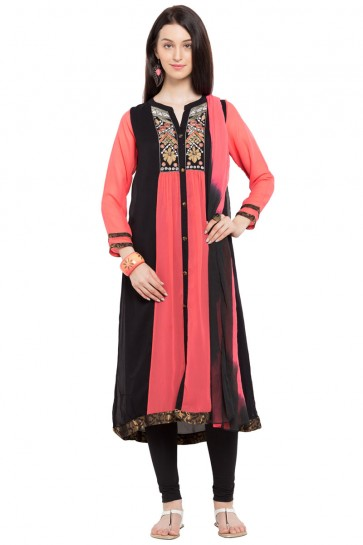 Gorgeous Pink Georgette and Faux Crepe Bottom Plus Size Readymade Salwar Suit