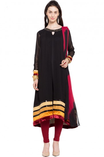 Excellent Black Georgette Churidar Plus Size Readymade Salwar Suit with Faux Chiffon Dupatta