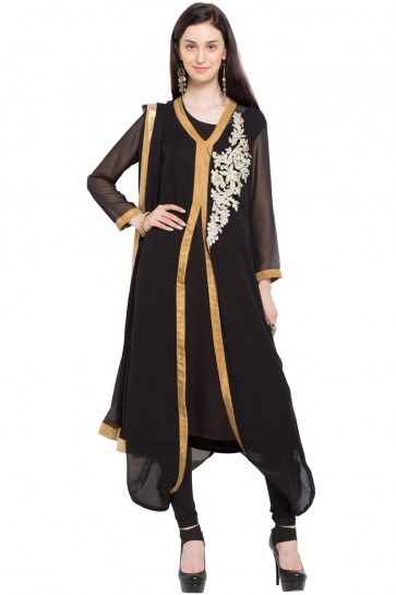 Beautiful Black Georgette Churidar Bottom Party Wear Plus Size Readymade Salwar Suit