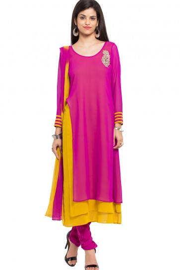 Charming Pink Georgette and Faux Crepe Churidar Bottom Plus Size Readymade Salwar Suit
