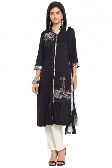 Lovely Black Cotton Straight Pant Plus Size Readymade Salwar Suit With Faux Chiffon Dupatta