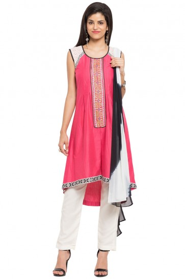 Charming Pink Cotton and Faux Crepe Straight Pant Bottom Plus Size Readymade Salwar Suit
