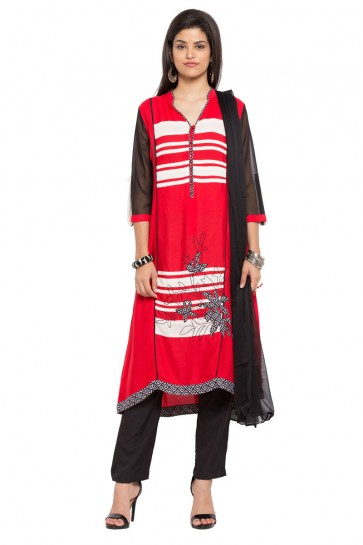 Supreme Red Cotton Straight Pant Plus Size Readymade Salwar Suit With Faux Chiffon Dupatta