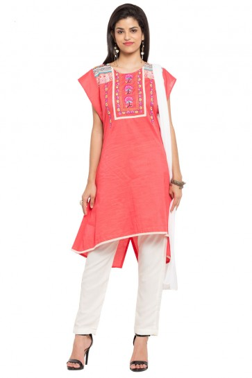 Admirable Pink Cotton and Faux Crepe Straight Pant Plus Size Readymade Salwar Suit With Faux Chiffon Dupatta