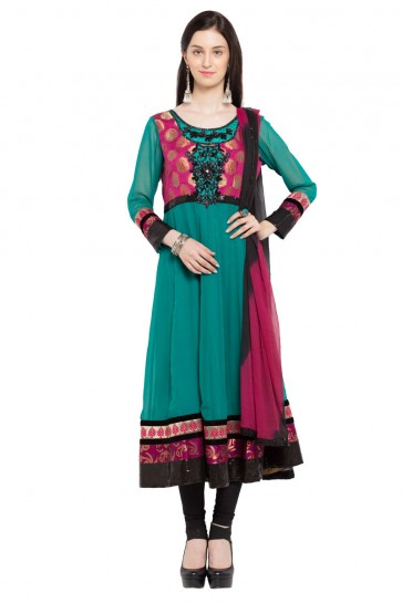 Supreme Turquoise Faux Georgette Plus Size Readymade Salwar Suit