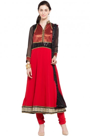 Charming Red Faux Georgette Plus Size Readymade Salwar Suit with Chiffon Dupatta