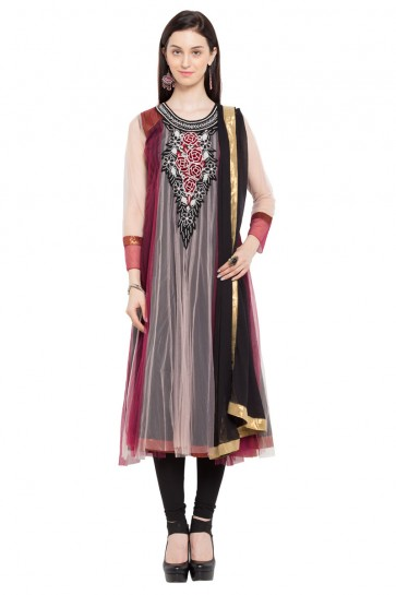 Admirable Maroon Faux Georgette Plus Size Readymade Salwar Suit with Chiffon Dupatta