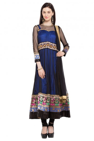 Lovely Blue and Black Faux Georgette Plus Size Readymade Salwar Suit with Chiffon Dupatta