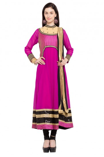 Desirable Pink Faux Georgette Plus Size Readymade Salwar Suit With Chiffon Dupatta