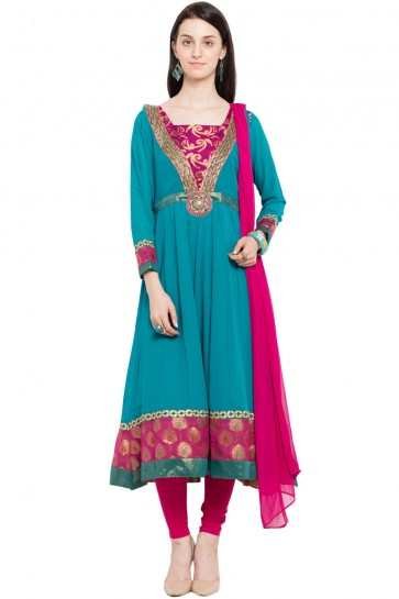 Excellent Teal Faux Georgette Plus Size Readymade Salwar Suit With Chiffon Dupatta