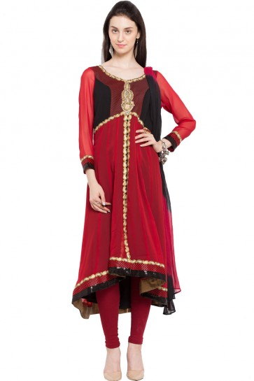 Gorgeous Red Faux Georgette Plus Size Readymade Salwar Suit With Chiffon Dupatta