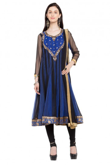 Beautiful Blue and Black Faux Georgette Plus Size Readymade Salwar Suit