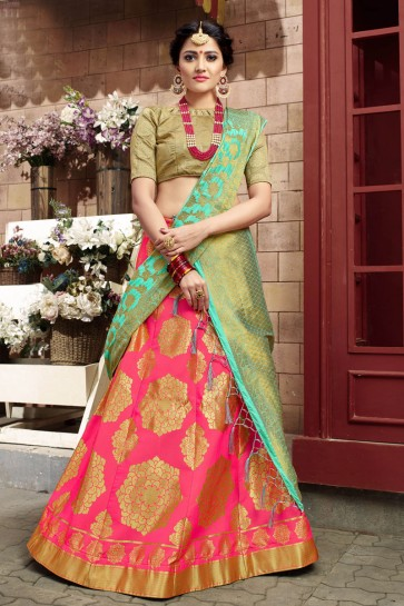 Excellent Pink Banarasi Silk Lehenga Choli with Banarsai Silk Dupatta