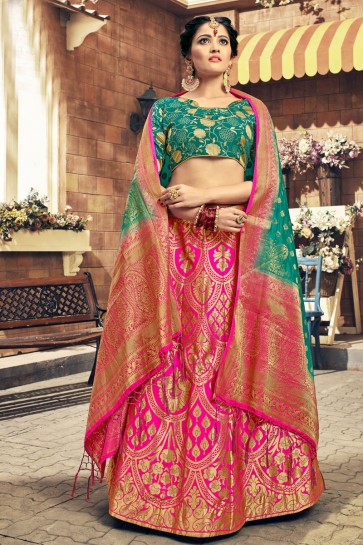 Graceful Pink Embroidred Work Banarasi Silk Desginer Lehenga Choli