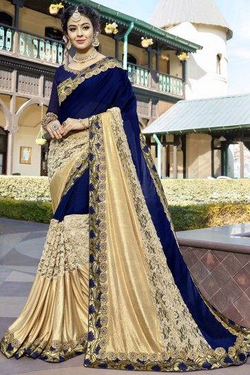Classic Blue and Beige Color Lace Work Wedding Wear Saree