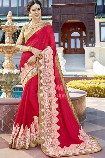 Beautiful Pink Fancy Fabric Wedding Wear Lace Work Saree