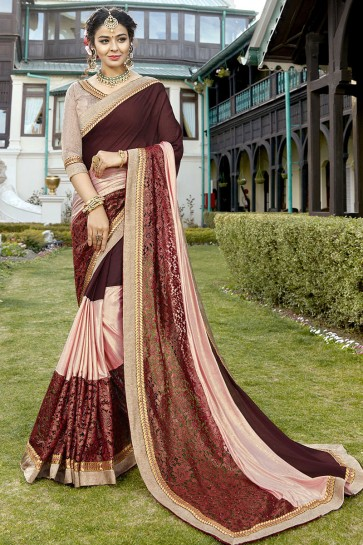 Admirable Brown and Pink Lace Work Fancy Fabric Saree