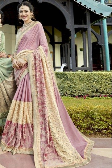 Supreme Pink Fancy Fabric Wedding Wear Saree with Lace Work