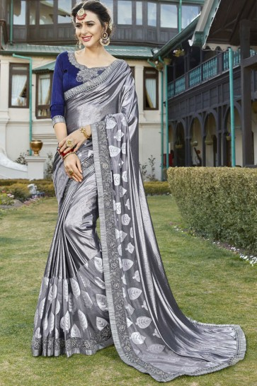 Gorgeous Silver Color Wedding Wear Fancy Fabric Saree