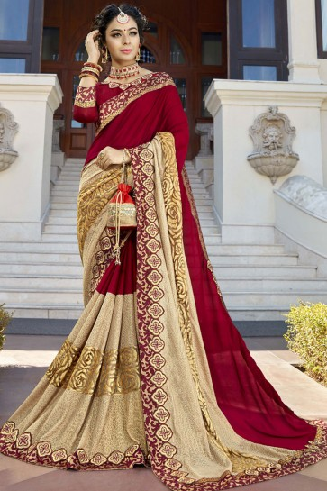 Wedding Wear Charming Maroon and Beige Color Lace Work Saree