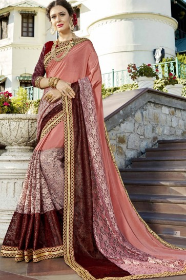 Incredible Wedding Wear Peach Lace Work Fancy Fabric Saree
