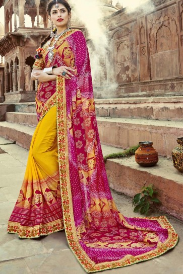 Traditional Pink and Yellow Embroidery Lace Work Party Wear Bandhej Saree