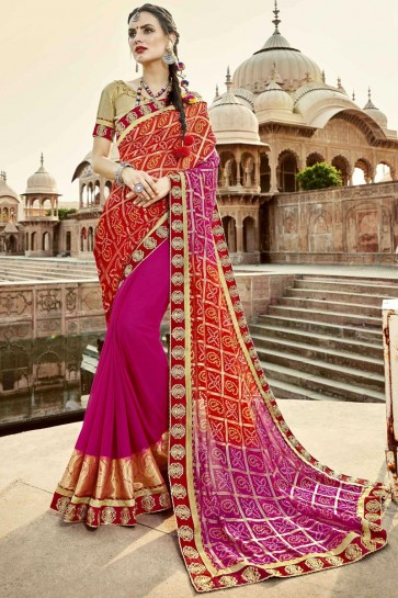 Beautiful Pink and Red Georgette Party Wear Lace Work Bandhni Saree