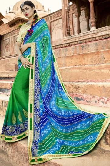 Traditional Green and Blue Party Wear Border Work Georgette Bandhej Print Saree