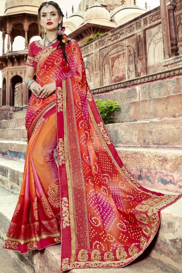 Admirable Orange and Red Embroidery Lace Work Georgette Bandhni Print Saree