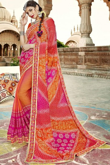 Desirable Orange Red and Pink Party Wear Embroidery Border Work Georgette Bandhej Saree