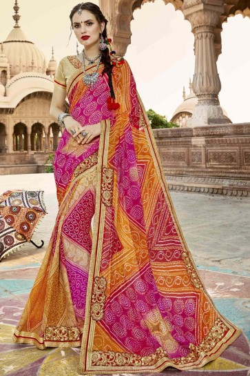 Traditional Orange Red and Pink Georgette Party Wear Bandhni Saree with Embroidery Lace Work