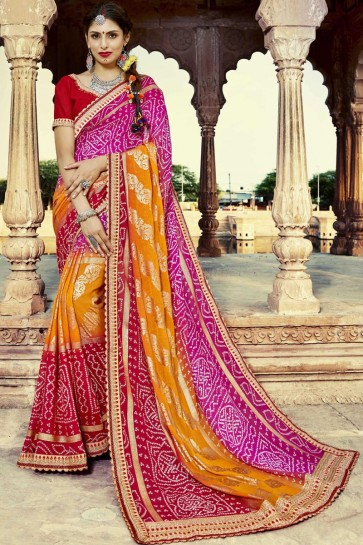 Gorgeous Traditional Pink Red and Orange Party Wear Georgette Bandhni Print Saree with Banglori Blouse