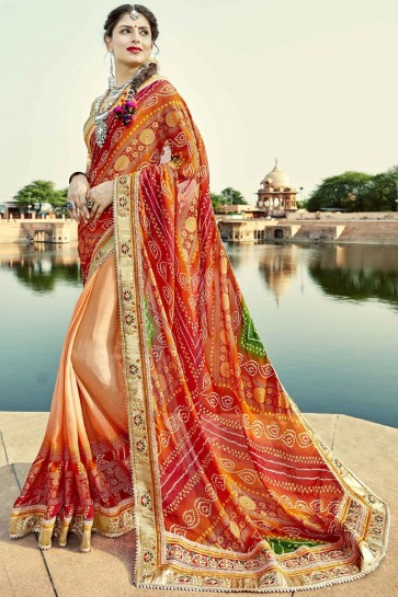 Traditional Party Wear Charming Red Orange and Green Embroidery Lace Work Bandhej Saree