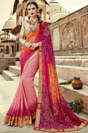 Stylish Pink and Orange Embroidery Lace Work Party Wear Bandhini Saree with Banglori Blouse