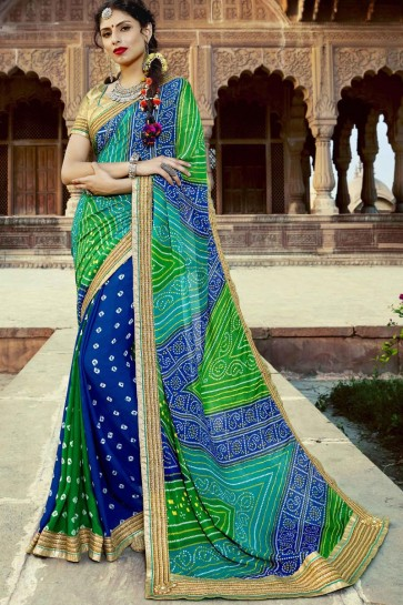 Incredible Party Wear Green and Blue Embroidery Lace Work Georgette Bandhej Print Saree