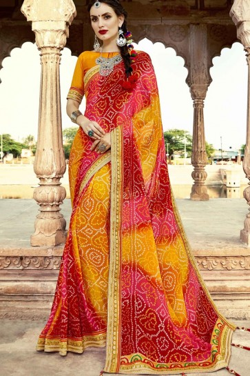 Traditional Party Wear Red and Yellow Embroidery Lace Work Georgette Bandhni Print Saree