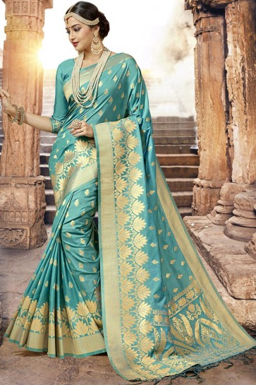 Admirable Turquoise Silk Designer Jaquard Work Saree