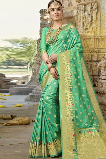 Lovely Green Silk Designer Jaquard Work Saree