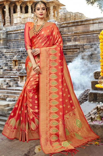 Ultimate Orange Silk Designer Jaquard Work Saree