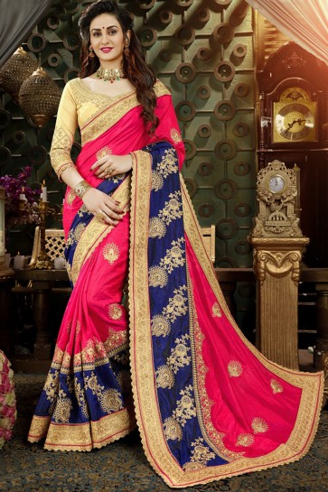 Party Wear Blue And Pink Georgette Embroidered Saree With Banglori Silk Blouse