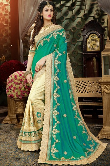 Cream And Sea Green Georgette Embroidery Work Saree With Banglori Silk Blouse