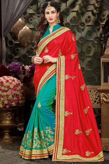 Classic Embroidery Work Red And Sea Green Georgette Saree And Blouse