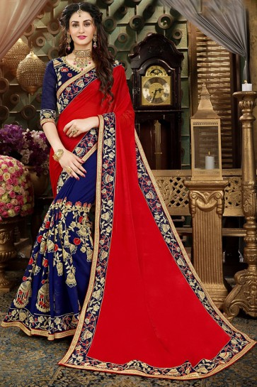 Fascinating Red And Navy Blue Embroidery Work Saree With Banglori Silk Blouse